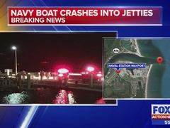 34-foot Navy boat partially stuck after hitting the jetties, crew…